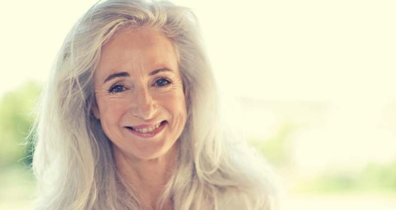 Woman over 50 with long hair