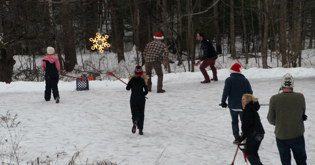 Playing on the pond after Christmas dinner